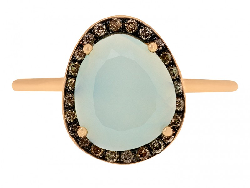 Christina Debs This ring from Hard Candy collection mounted on rose gold with sea blue chalcedony is available at the Pop-Up - CHF 745