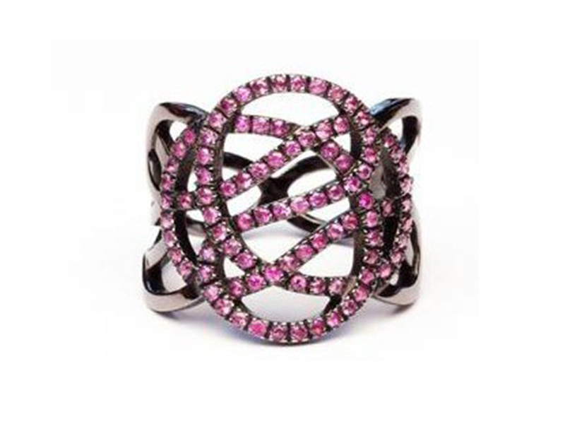 Sophie M Infini ring in grey gold with pink sapphires is available at the Pop Up - CHF 4'590