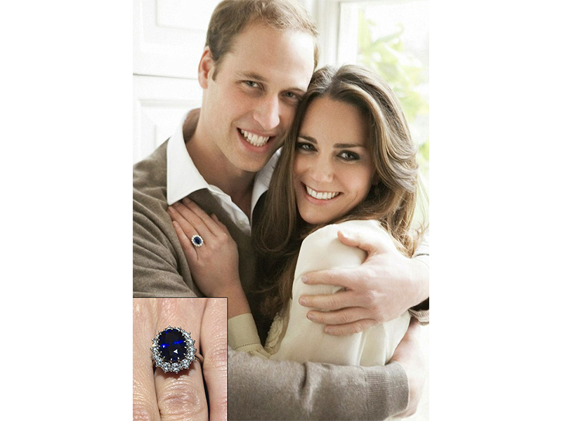 Garrard Kate Middleton and Prince William - The 18-carat oval sapphire engagement ring with diamonds