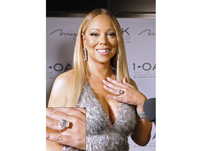 Wilfredo Rosado Mariah Carey and James Packer - 35-carat engagement ring mounted on platinum with emerald-cut diamond