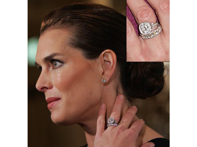 Neil Lane Brooke Shields and Chris Henchy - Center diamond surrounded by a unique configuration of micro-pavé-set diamonds