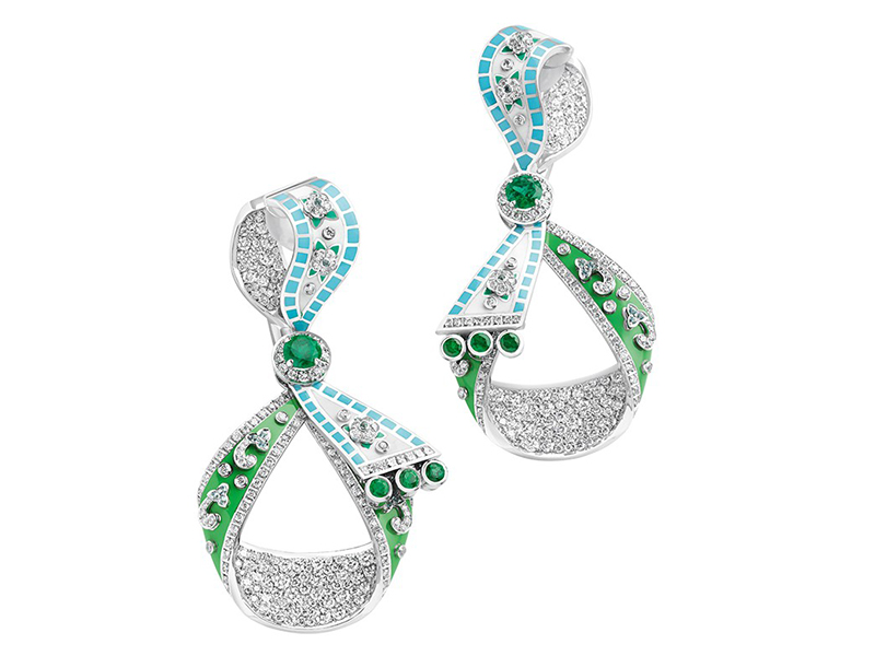 Faberge and Summer in Provence emerald earrings diamonds white gold
