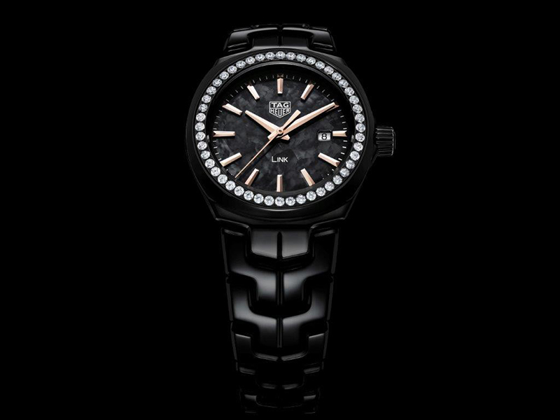 Tag Heuer Matt black ceramic version with black mother-of-pearl dial and diamond bezel