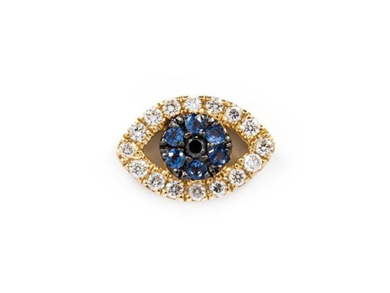 Loquet Diamond and sapphire eye charm mounted on yellow gold ~ GBP£ 1'145