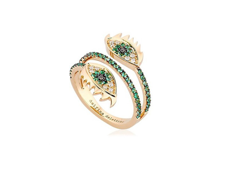 Delfina Delettrez Marry me double eye ring mounted on rose gold with diamonds and emeralds ~ GBP£ 3'680