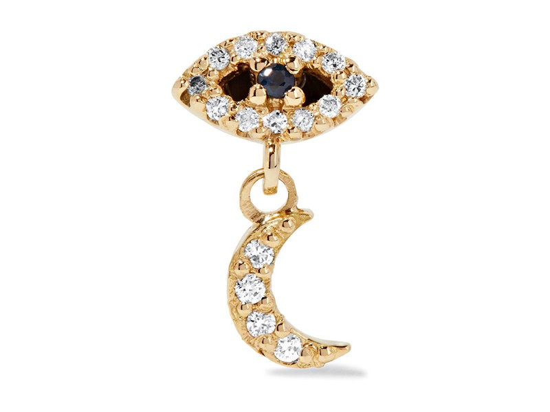 Ileana Makri Eye and moon mounted on gold with diamonds and sapphire ~ GBP$ 680