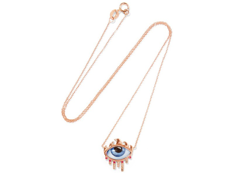 Lito Necklace mounted on rose gold with diamond, ruby and enamel ~ 917 Euros