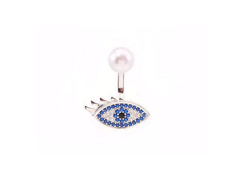 Samira 13 Eye earring mounted on sterling silver
