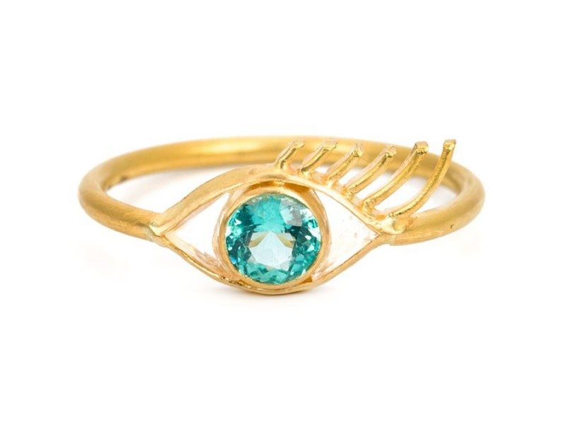 Marie Helene De Taillac Gold eye ring with a blue apatite crystal ~ USD$ 2'196