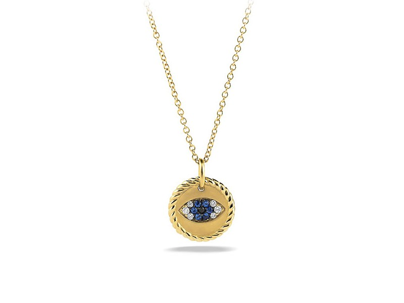 David Yurman Cable collectibles evil eye charm necklace mounted on yellow gold with blue sapphire, black diamonds and diamonds ~ CHF 840