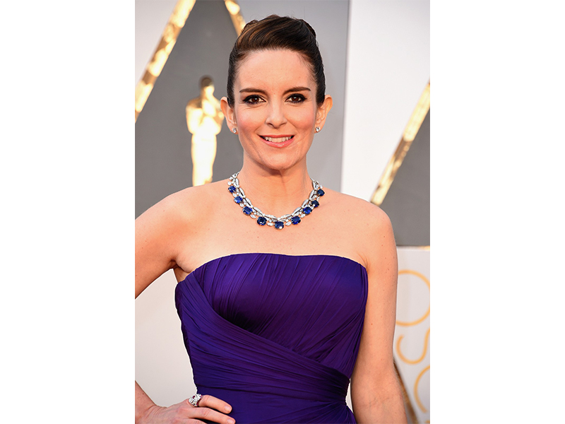 Bulgari Tina Fey wore a Bulgari sapphire necklace on the red carpet. Oscars 2016