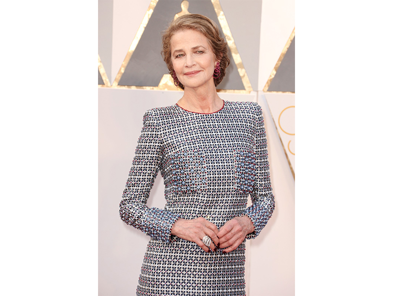 De Grisogono Charlotte Rampling wore Gypsy earrings and Onde ring at the 88th Annual Academy Awards. Oscars 2016