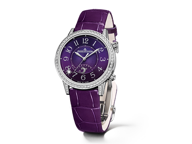 Jaeger-Lecoultre Rendez-Vous Sonatina Large set in white gold with diamonds and a purple guioché dial.