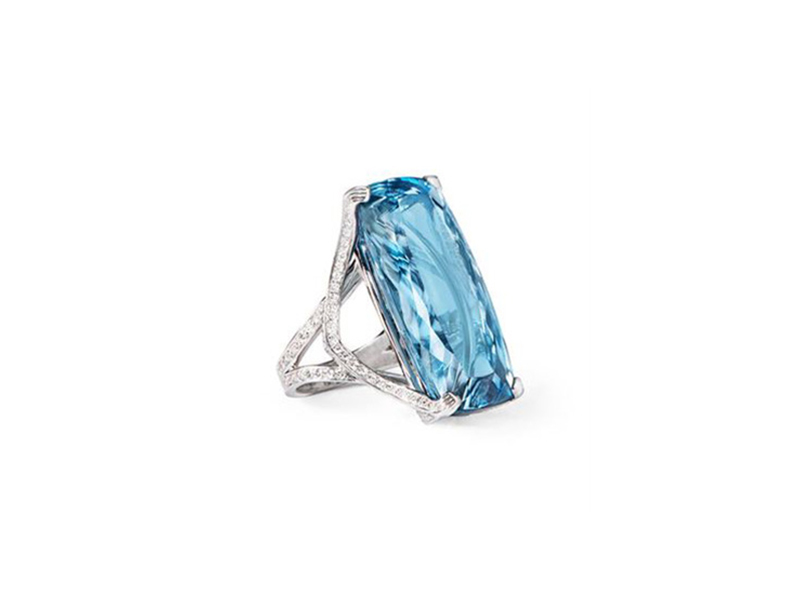 Katherine Jetter Aquamarine Ring set in platinum with diamonds lining