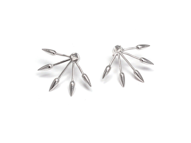 Pamela Love 5 Spike earrings mounted on sterling silver, ~ USD$ 190