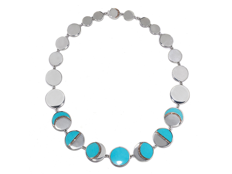 Pamela Love Moon Phase collar mounted on sterling silver with turquoise and champagne diamonds, ~ USD$ 3'000