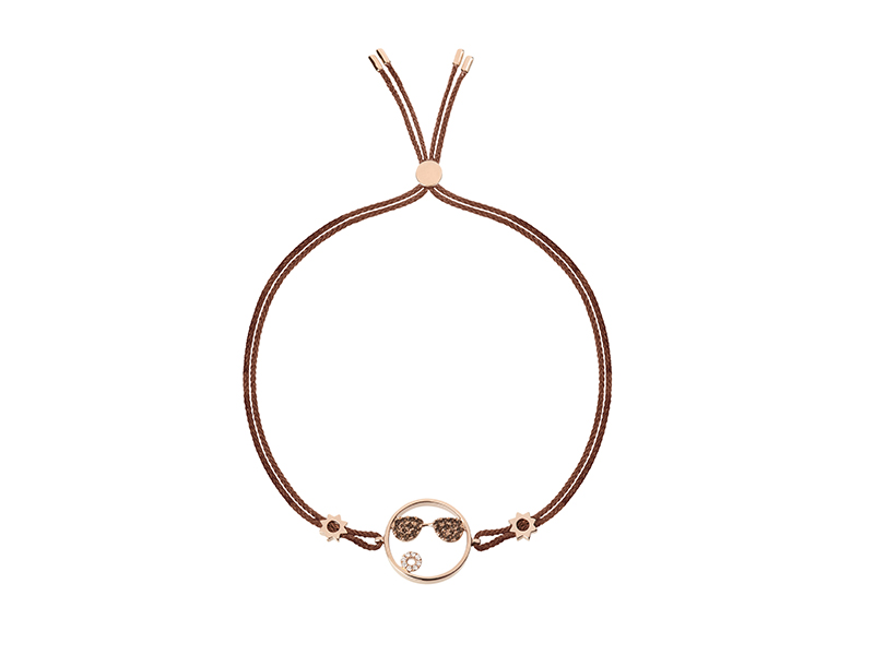 Ruifier Moyen shades cord bracelet mounted on rose gold with smoky quartz and diamonds, ~ GBP£ 835
