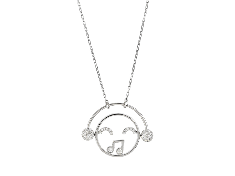 Ruifier Moyen DJ pendant mounted on white gold with diamonds, ~ GBP£ 1'985