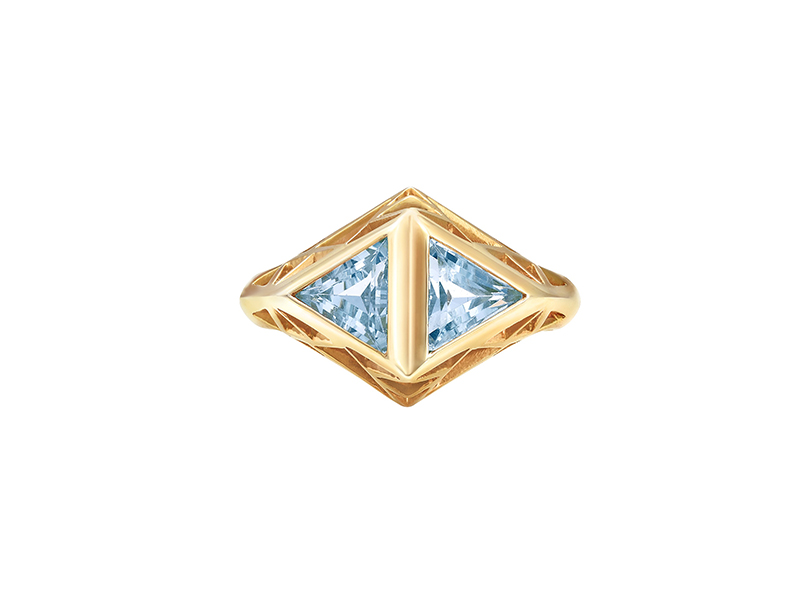 Sammie Jo Coxon From Demeter collection - Ring mounted on yellow gold with aquamarine