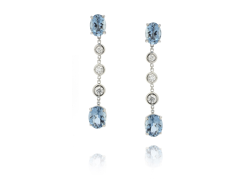 BenGems - Boucles d'oreille en or blanc sertie de 4 aquamarines taille oval et 6 diamants