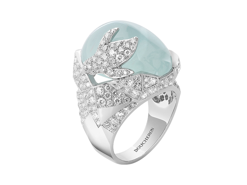 Boucheron Arctic - The Penguin ring set with an aquamarine cabochon, pavé diamonds, in white gold