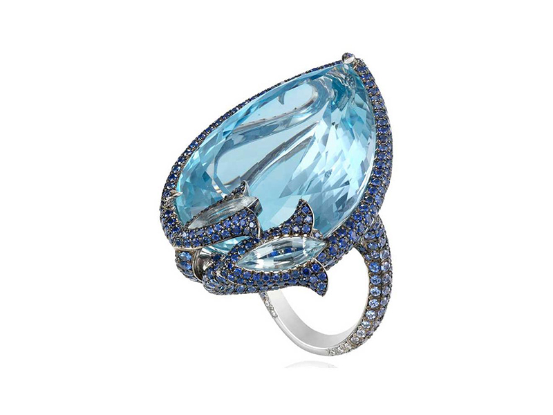 Chopard - Bague Cannes aquamarine sertie de diamants et saphirs