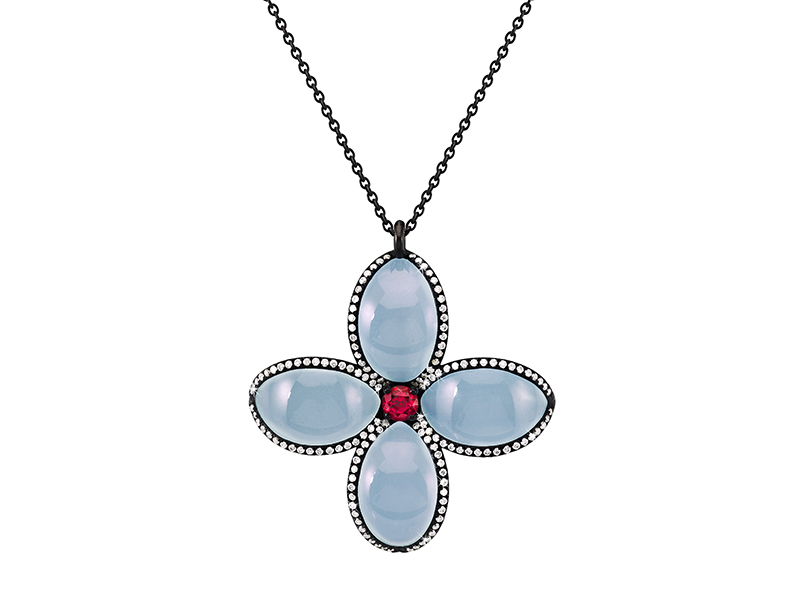 Garaude From Byzance collection - Pendant with aquamarines and spinel