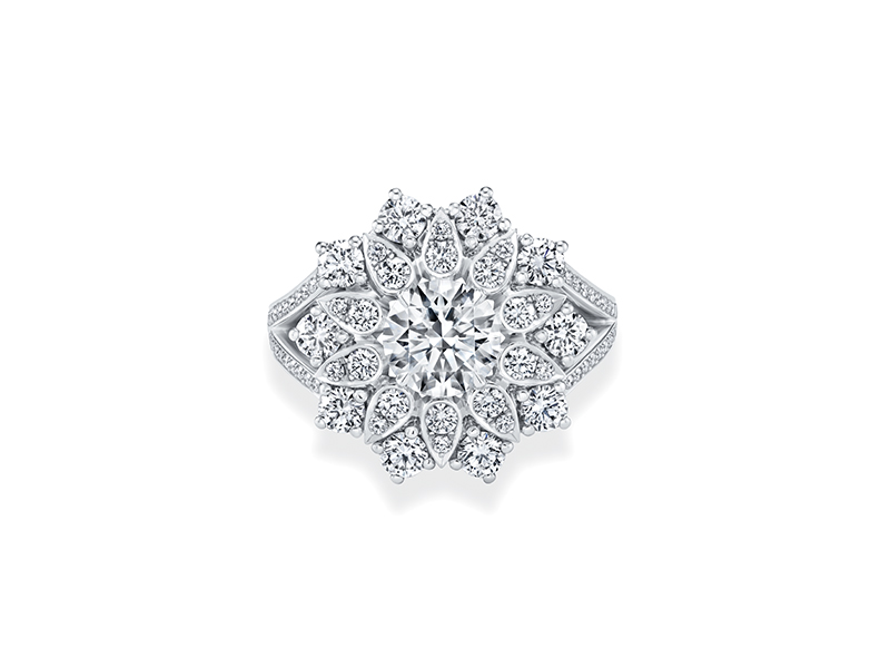 Harry Winston Lotus Cluster Engagement Ring