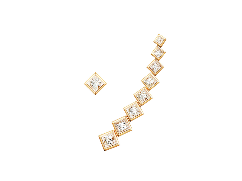 Melissa Kaye Margo earcuff mounted on yellow gold with princess cut diamonds, ~ USD$ 4'730