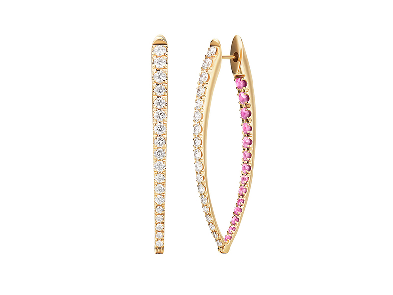 Melissa Kaye Cristina earring (large) mounted on yellow gold with white diamonds and pink sapphires, ~ USD$ 7'700