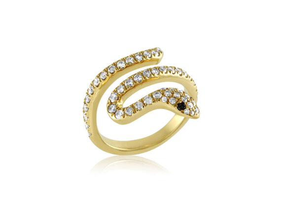Nayla Arida Jewellery - Bestiaire Précieux collection- Phalanx ring mounted on yellow gold with white and black diamonds