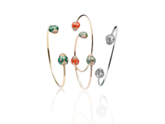 Nayla Arida Jewellery Bestiaire Précieux collection - Lady Bug bangles mounted on gold with malachite, coral, turquoise or mother of pearl