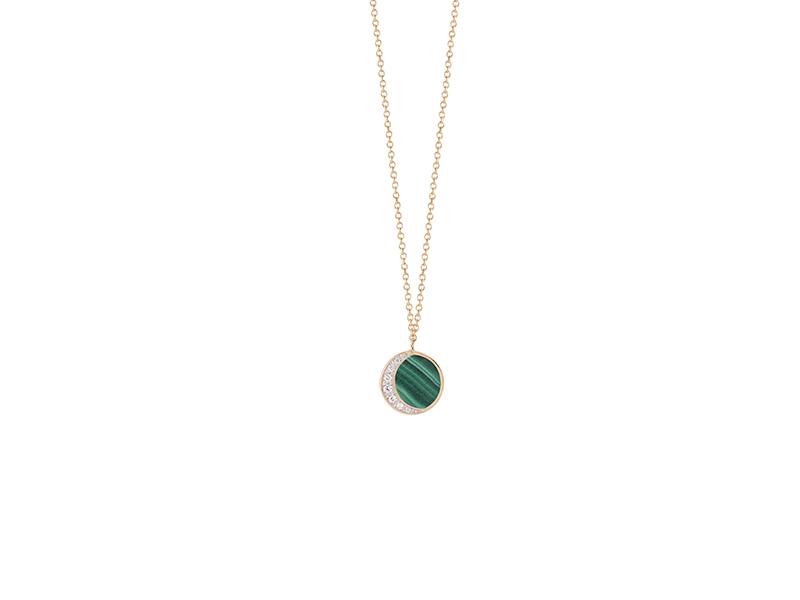 Pamela Love Inlay reversible moon phase pendant mounted on yellow gold with pave white diamonds and malachite, ~ USD$ 1'900