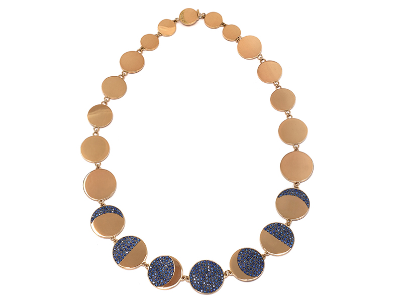 Pamela Love Moon phase collar mounted on yellow gold with pave blue sapphires, ~ USD$ 18'800