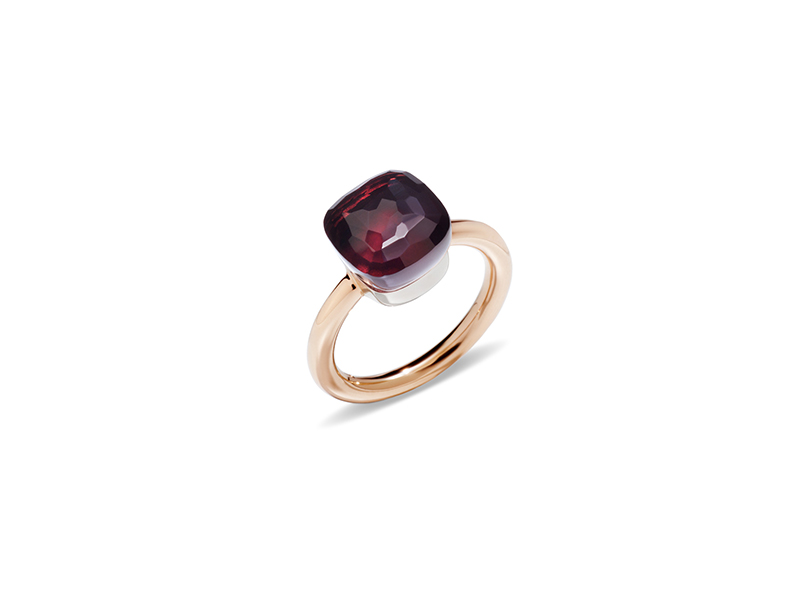 Pomellato Nudo ring mounted on rose gold with garnet ~ 1'830 Euros