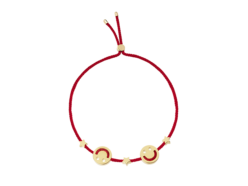 Ruifier Friends Happy 2 Star Bracelet - Red cord with two happy faces and yellow gold stars, ~ GBP£ 180