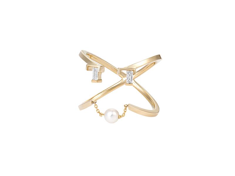 Ruifier Petit shay ring mounted on 9ct yellow gold with pearl and topaz, ~ GBP£ 375