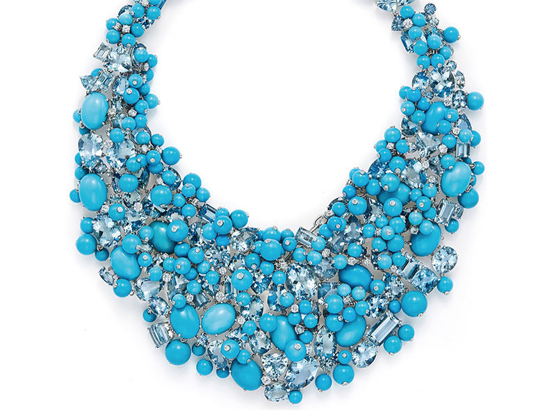 Tiffany & Co. Necklace of aquamarines and turquoise set with diamonds in platinum blue book 2015 the art of the sea
