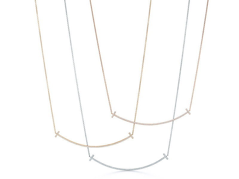 Tiffany & Co. smile pendant diamonds yellow, rose, white gold 3 necklaces
