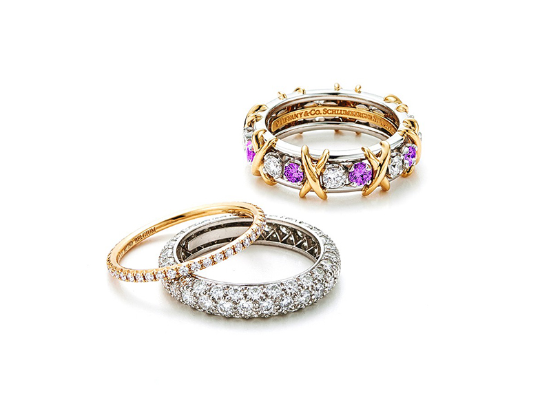 iffany & Co. Schlumberger Sixteen Stone ring with diamonds and pink sapphires (top), and Etoile 3-row pavé diamond band ring