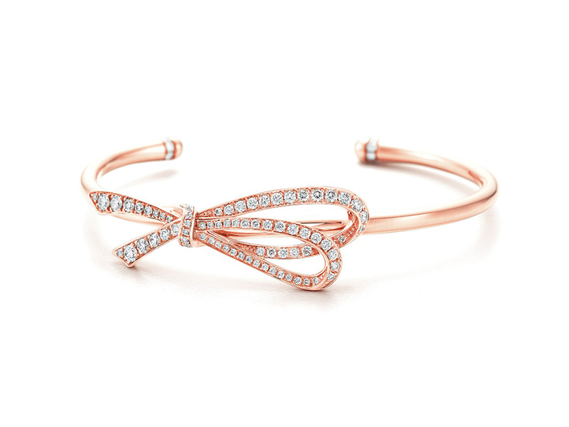 Tiffany Bow cuff in 18k rose gold with diamonds