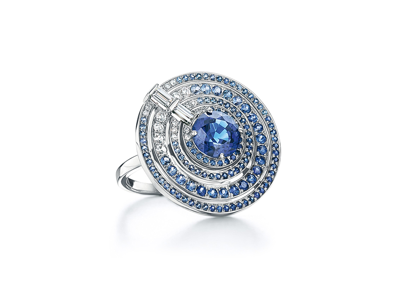 Tiffany & Co. blue book 2015 the art of the sea Ring with sapphires and diamonds in platinum