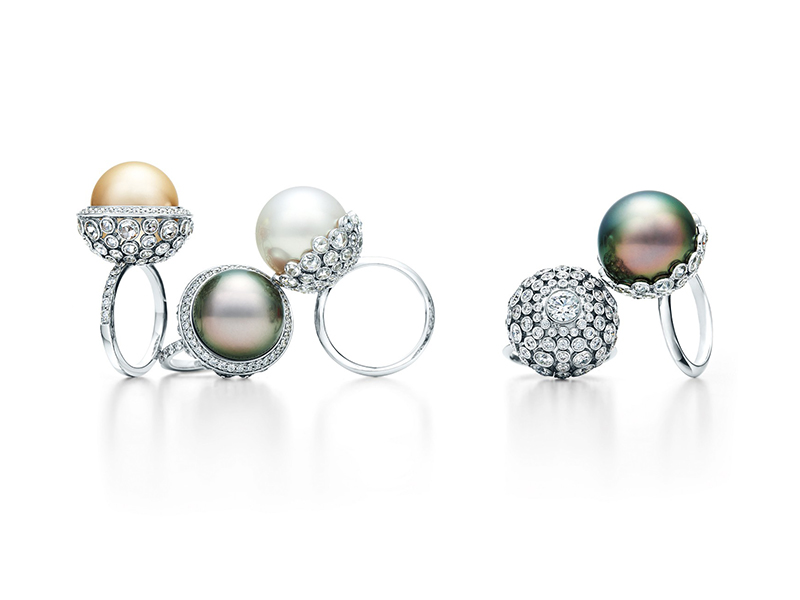 Tiffany & Co. Rings of South Sea white and Tahitian cultured pearls with rose-cut and round diamonds in platinum. blue book 2015