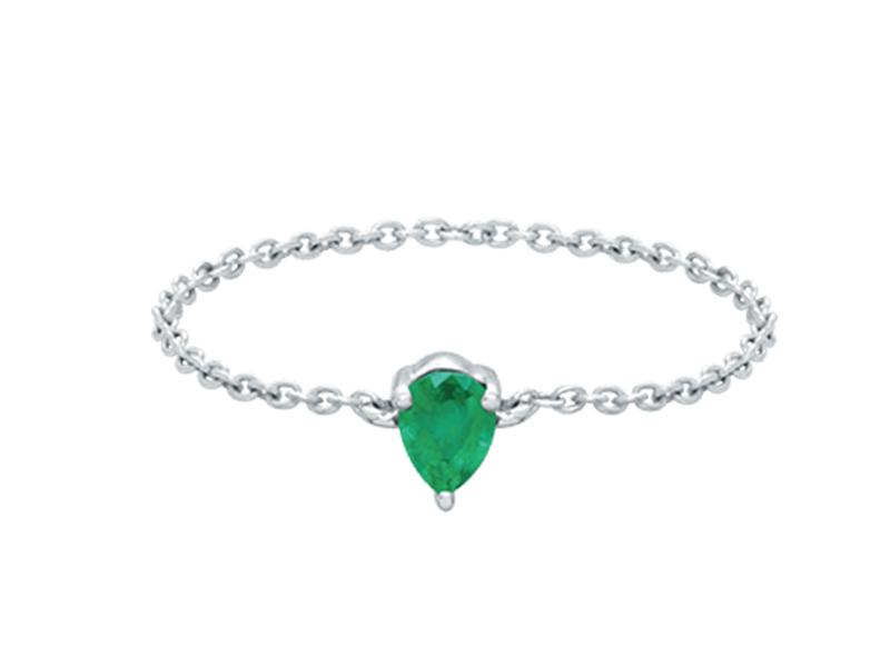 Djula Pear gold and emerald chain ring mounted on white gold, ~ USD$ 594