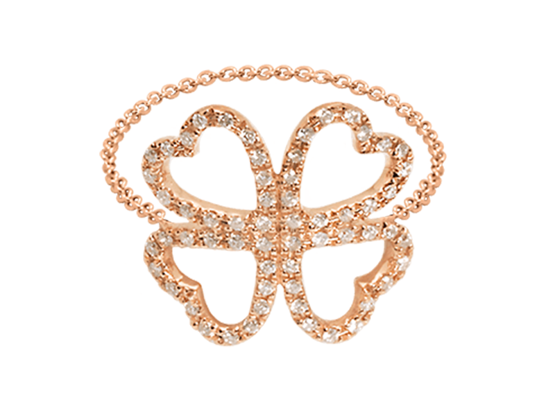 Djula Clover gold and diamonds chain ring mounted on rose gold, ~ USD$ 1'140