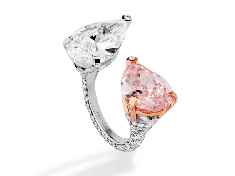 Messika Toi & moi ring from the High Jewelry collection - mounted on white gold with two pear cut white and rose diamond