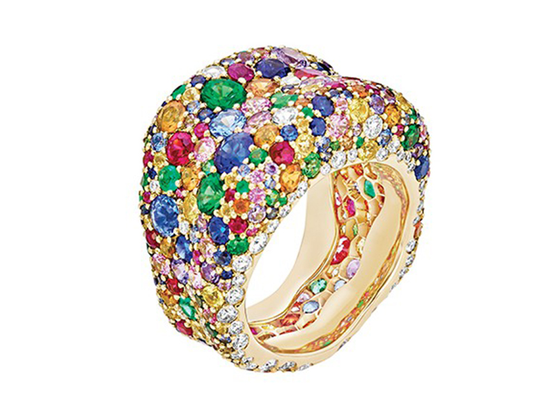Fabergé Emotion Multi-Colored Ring set on yellow gold with round Violet Sapphires (1.16cts), round Blue Sapphires (1.66cts), Round Tsavorites (1.44cts), Round Orange Sapphires (1.86cts), Round Yellow Sapphires (1.77cts), Round Rubies (1.48cts), Round Pink Sapphires (1.57cts) and Round White Diamonds (0.72cts).