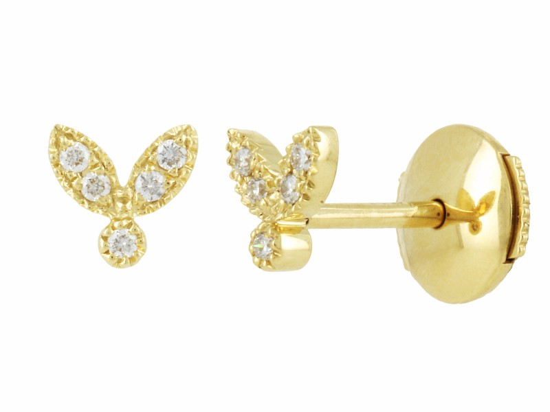 Yvonne Leon These studs mounted on yellow gold with diamonds is available at the Pop Up - CHF 680