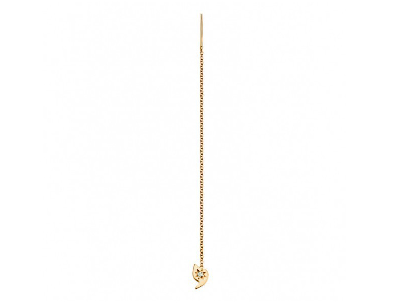 Rivka Nahmias This ear chain mounted on yellow gold with one diamond is available at the Pop Up - CHF 235
