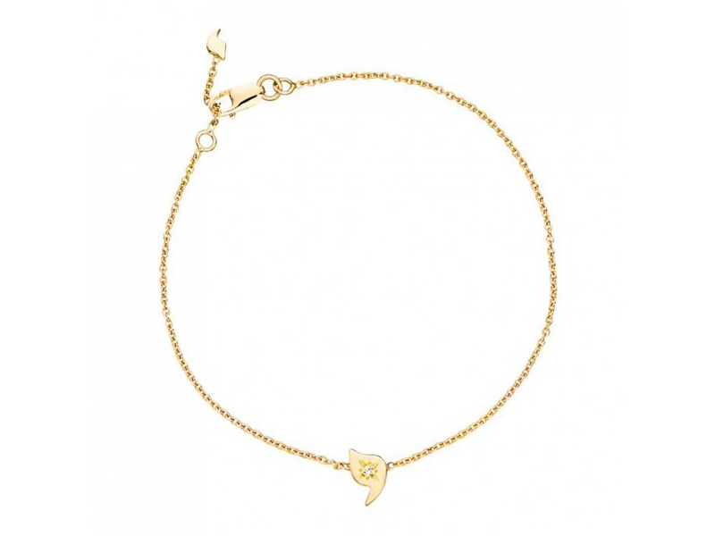 Rivka Nahmias This Baby youd bracelet mounted on yellow gold with one diamond is available at the Pop Up - CHF 425
